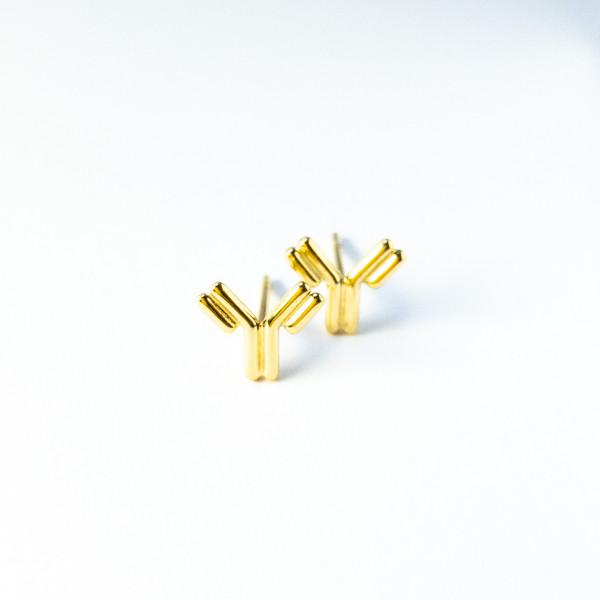 Antikörper-Ohrstecker aus Gelbgold